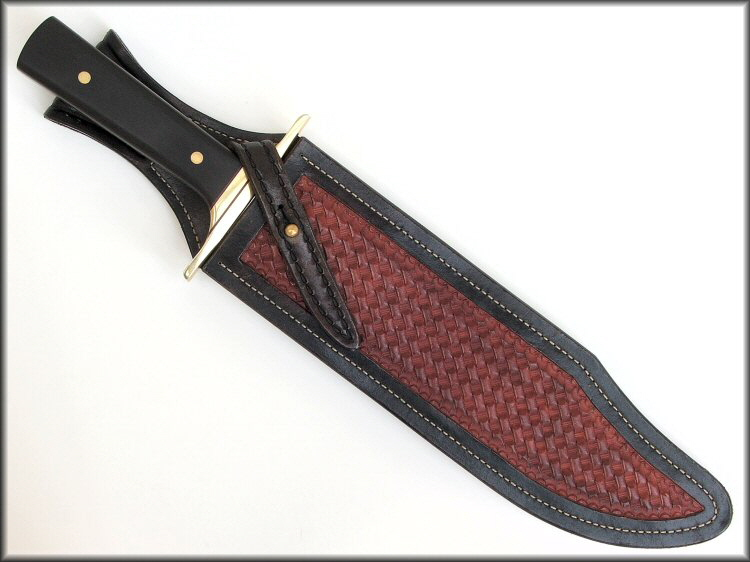 Bowie Knife Sheath With Basketweave Stamping